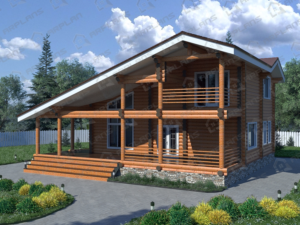 Проект дома из бревна ДО-009