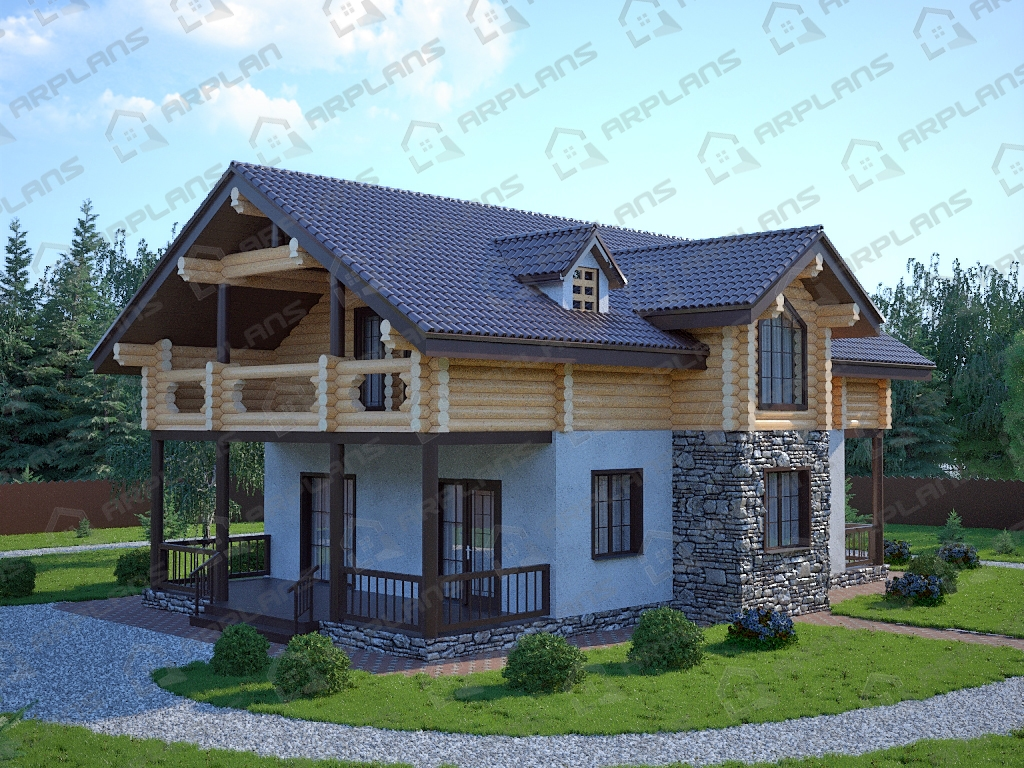 Проект комбинированного дома А-008